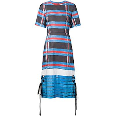 Lace-Up Detail Striped Dress