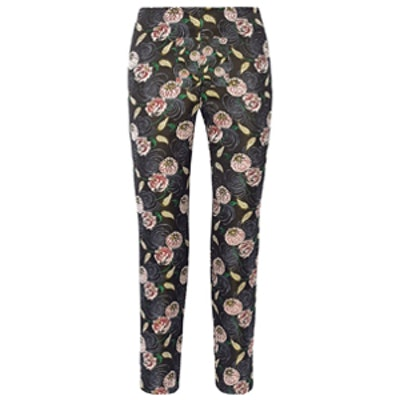 Floral-Jacquard Tapered Pants