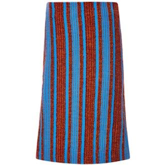 Wool Alpaca Bouclé Striped Skirt