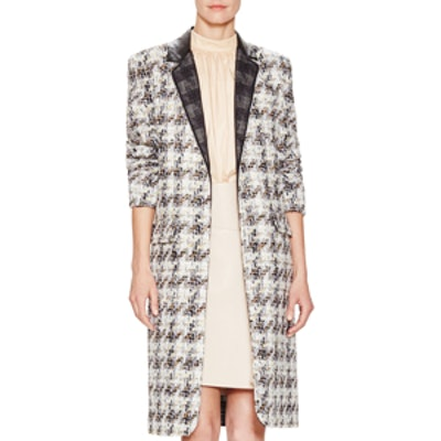 Grid Tweed Long Coat