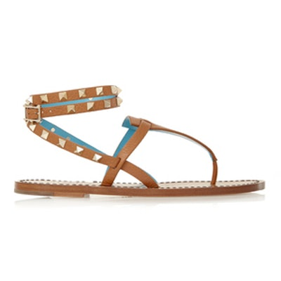 Studded Two-Tone Leather Sandals