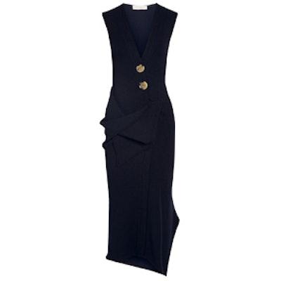 Draped Stretch Wool-Blend Midi Dress