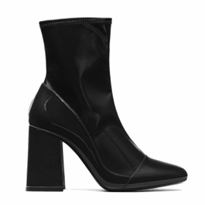 High-Heel Sock-Style Ankle Boot