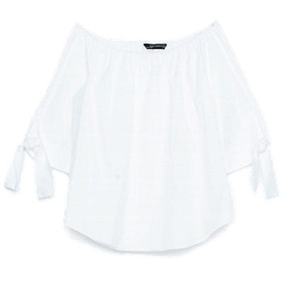 Off-The-Shoulder Poplin Shirt