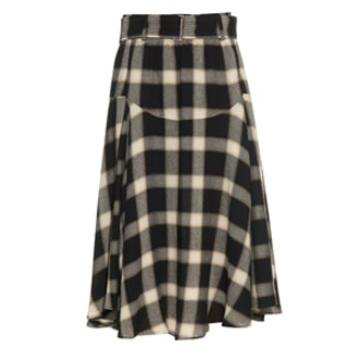 Belted Checked Twill Skirt