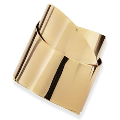 Golden Metal Geometric Ribbon Cuff