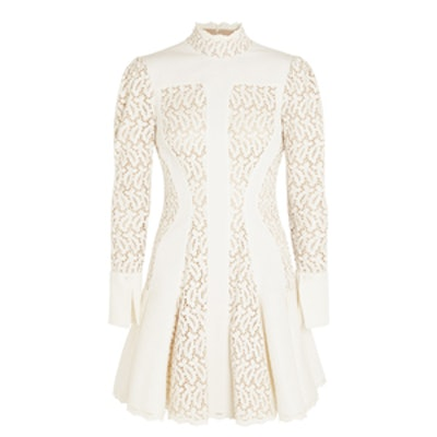 Matelasse and Broderie Anglaise Mini Dress