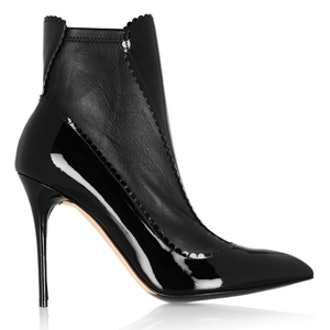 Scalloped Patent Leather Ankle Boots