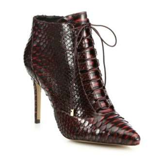 Lace-Up Crocodile Point-Toe Booties
