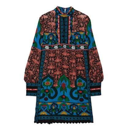 Printed Silk-Chiffon Mini Dress