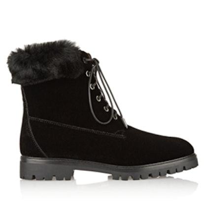 The Heilbrunner Shearling-Trimmed Velvet Boots