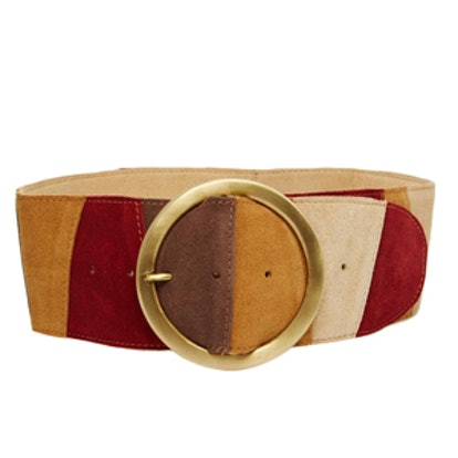 Color Blocked Suede Circle Buckle Belt