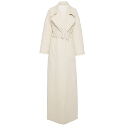 Long Off-White Canvas Trench Coat