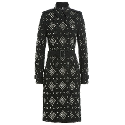 Embellished Lace Trench Coat