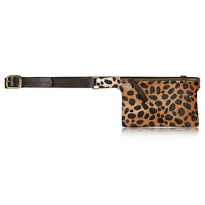 Petite Leopard Print Calf Hair and Leather Belt Bag