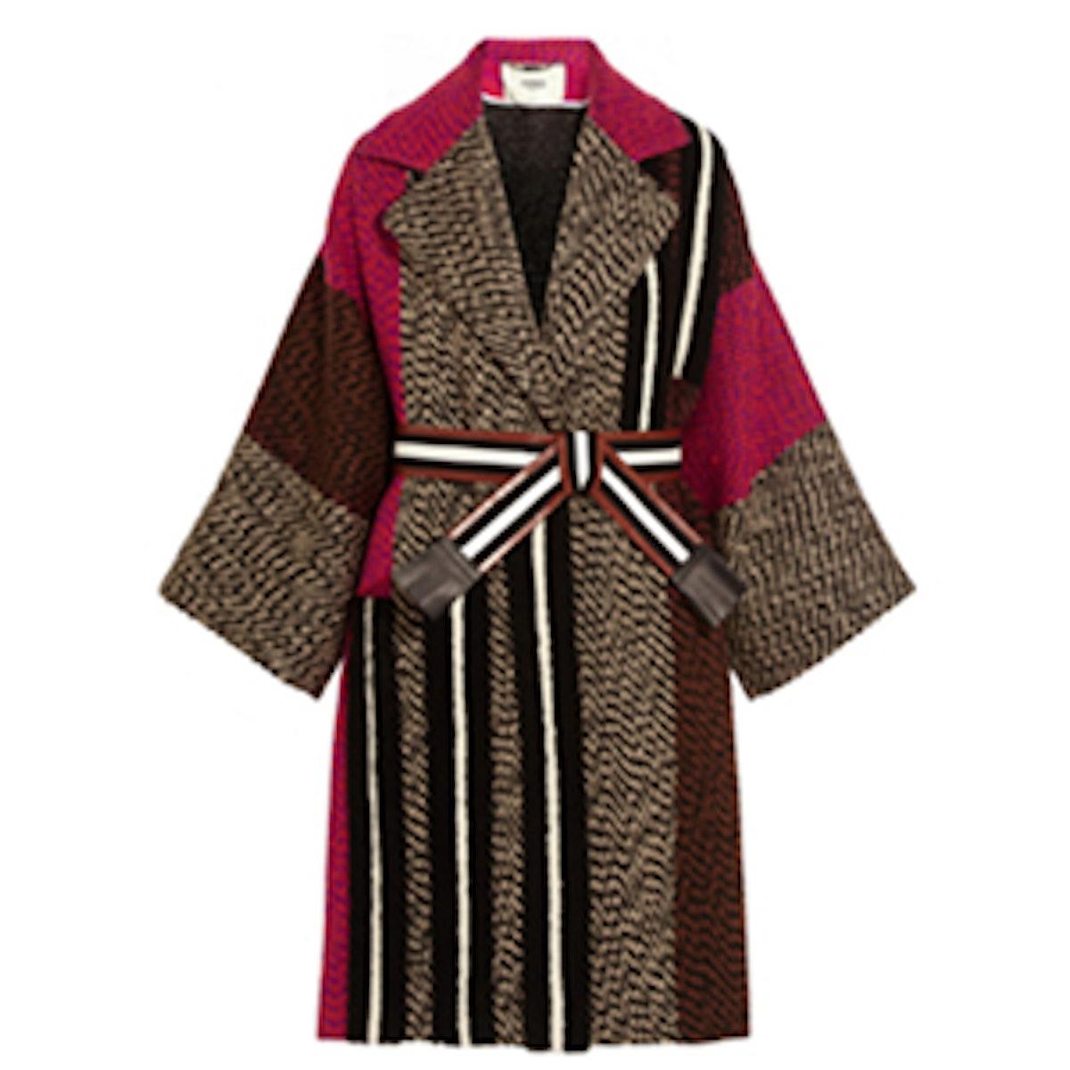 Patchwork Wool-Blend Bouclé Coat
