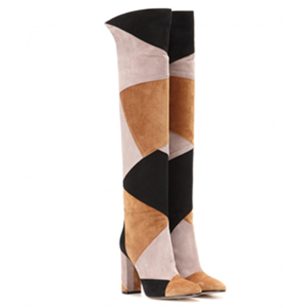 Patchwork Suede Over The Knee Boots
