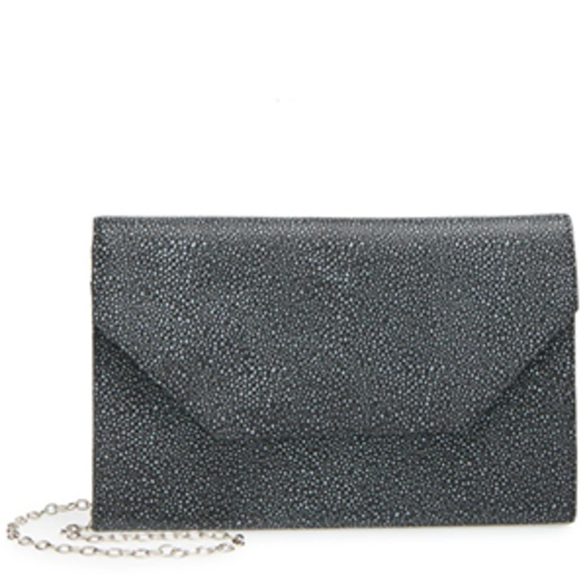 Angled Leather Day Clutch