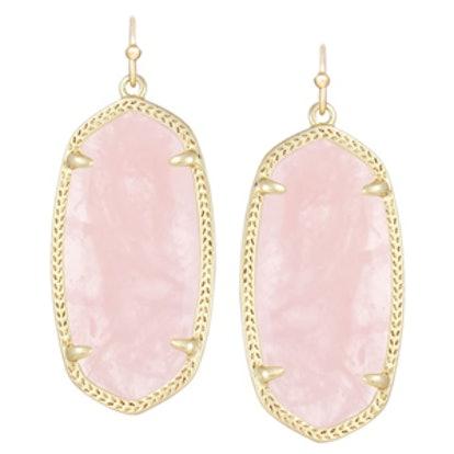 Elle Earrings in Rose Quartz