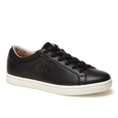Low-Rise Premium Leather and Suedette Straightset Sneakers