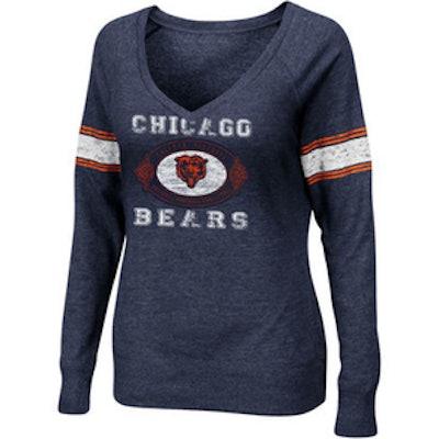 Chicago Bears Women's O.T. Queen V-Neck Fleece Pullover Sweatshirt