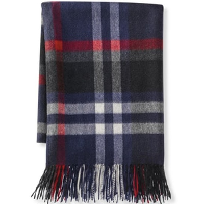 Plaid Cashmere Throw in Navy