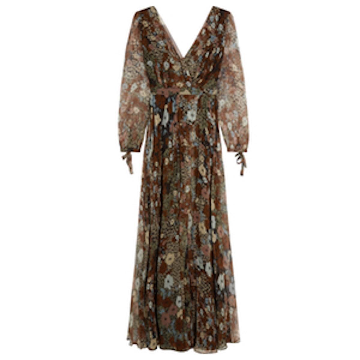 Princess Floral Chiffon Maxi Dress