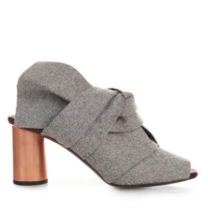 Bow Felt And Leather Sandals