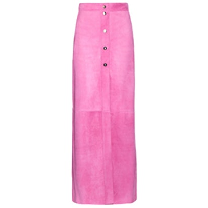 High-Waist Suede Maxi Skirt