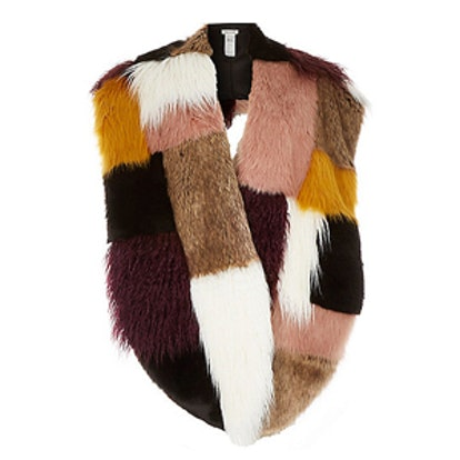 Brown Faux-Fur Patchwork Oversized Tippet