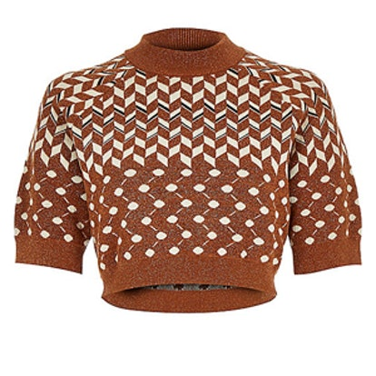 Rust Brown Knitted Metallic Cropped Top