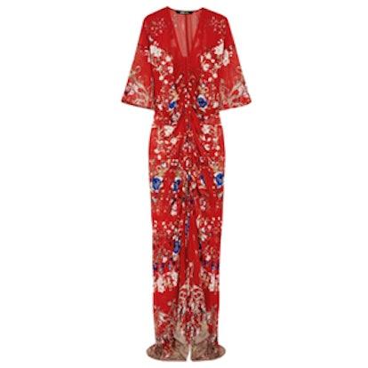 Floral Print Chiffon Gown