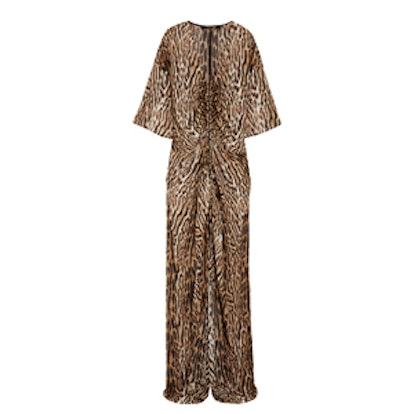 Leopard-Print Silk-Chiffon Gown