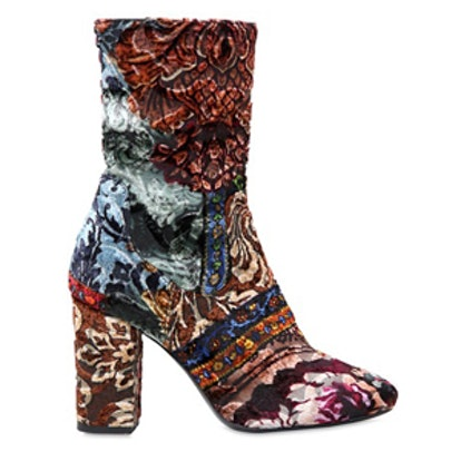 Patchwork Brocade Ankle Boots