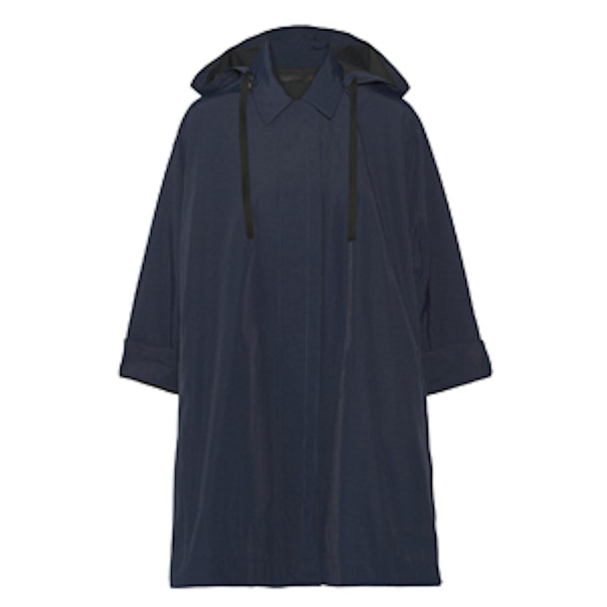 Rugan Oversized Coated Faille Hooded Coat