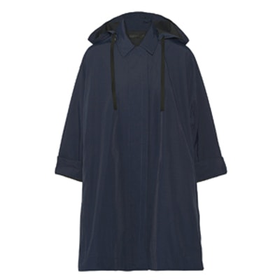 Rugan Oversized Coated Faille Hooded Coat