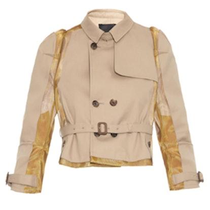 Mesh-insert cropped cotton jacket