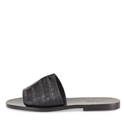 Snake-Embossed Slide Sandal