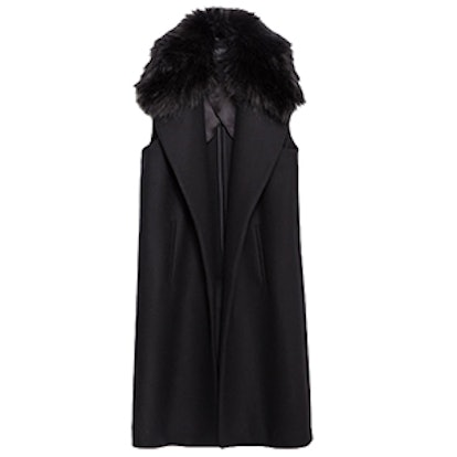 Long Vest With Fur Collar
