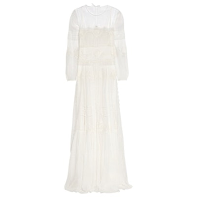 Silk-Chiffon, Lace And Tulle Gown