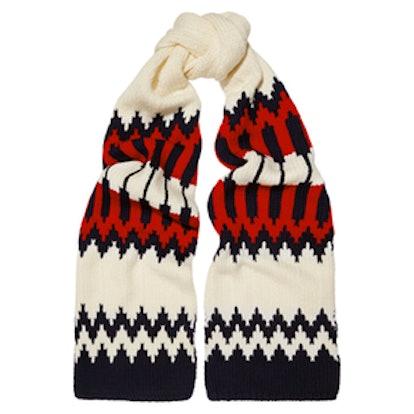 Snow Capsule Intarsia Wool Scarf