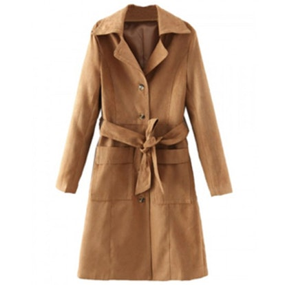 Belted Waist Faux Suede Trench Coat