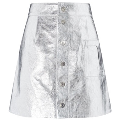 Silver Leather A-Line Mini Skirt