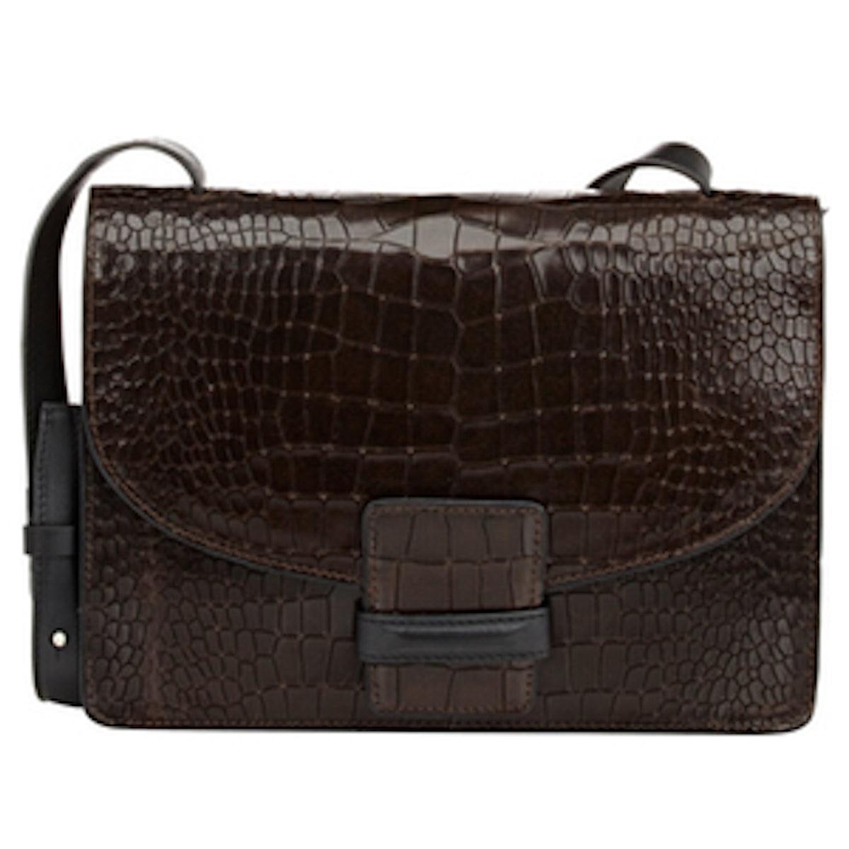 Croc-Stamped Large Shoulder Bag