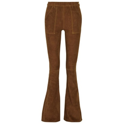 High-Rise Suede Flared Pants