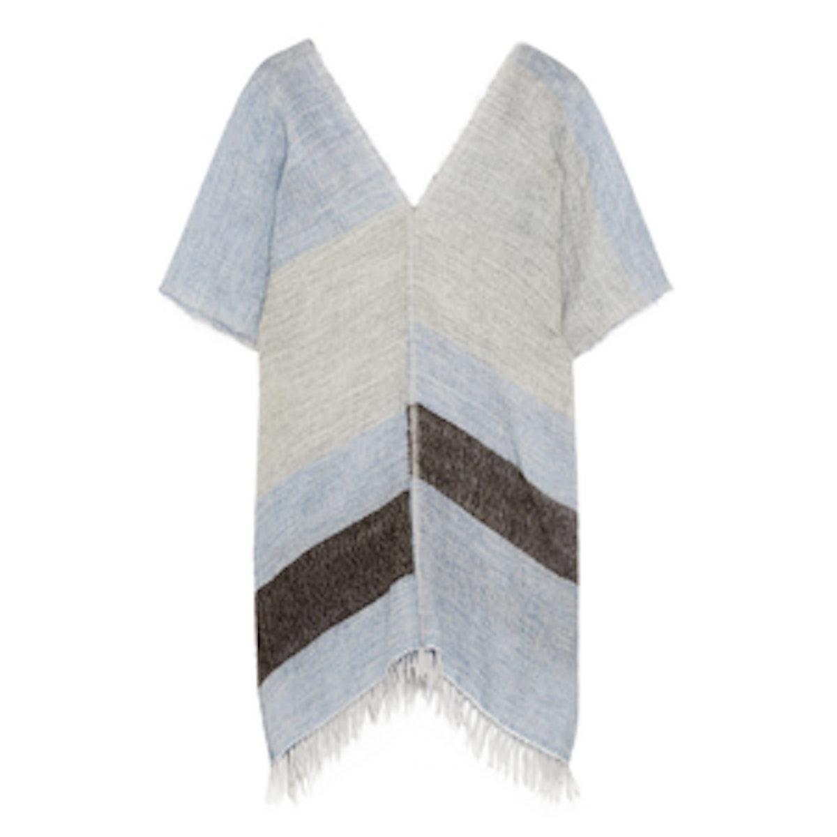 Striped Merino Wool Blend Poncho
