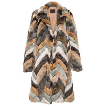 Herringbone Faux Fur Overcoat