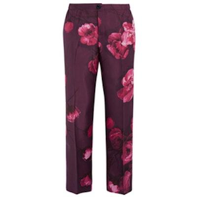 Floral-Print Silk Pants