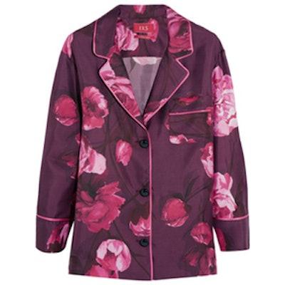 Floral-Print Silk Top
