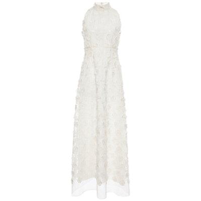 Ivory Sleeveless Lace Flower Dress